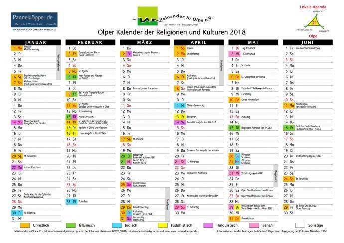 Kalender der Religionen - Olpe 2018