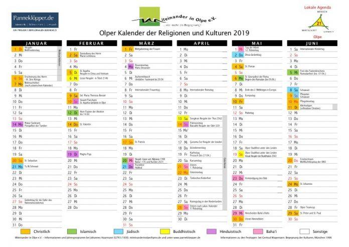 Kalender der Religionen und Kulturen 2019 - Olpe